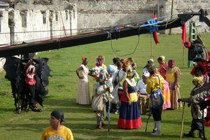 Tourisme au Panama, à Portobelo tournage d'un clip publicitaire
