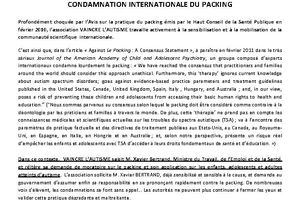 Vaincre l'autisme - Condamnation internationale du Packing