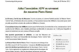 Syndrome de Williams et Buren - Journée du Macaron avec Pierre Hermé - 20 mars 2011