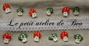 Boutons champignons en fimo - polymer clay muhsrooms buttons