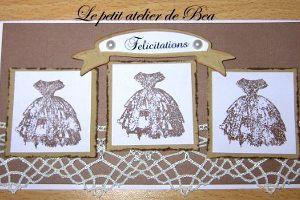 "Carte avec tampon vintage "" robe à crinoline "" de ma fabrication"