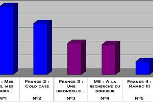 Audiences du 29/11/2010: TF1 en tête. Cold case en baisse. Fr4 au top.