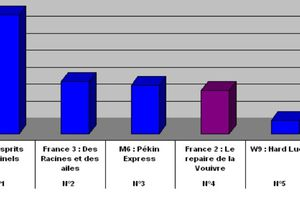 Audiences du 29/06/2011 : TF1 domine largement. Fr3 2è. M6 3è. Fr2 4è.