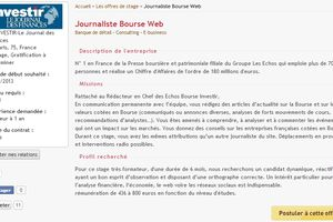 Stage Journaliste Web / Investir - Le journal des finances