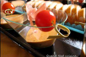 Verrines de panna cotta au pesto rosso