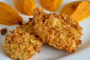 Poisson snacké aux corn flakes, purée de carotte à l'orange