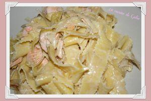 Pates à la fondue de poireaux et saumon