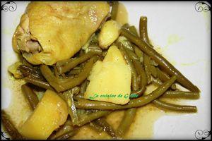Tajine de poulet-haricots vert et pomme de terre