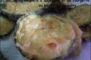 Beignets de courgettes et d'aubergines au curry et au basilic