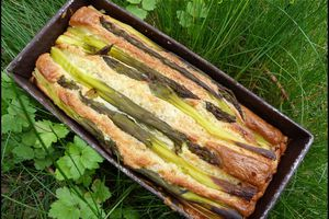 Cake aux asperges vertes et au jambon