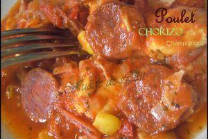 Poulet au Chorizo et Champignons de Paris (recette light)