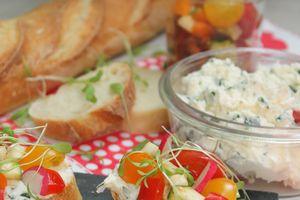 Tartinette de carré frais aux petits légumes