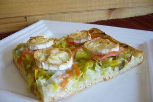 Pizza poireau / saumon / chèvre