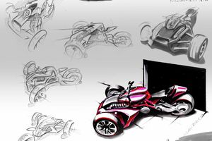 3 wheels Concept of a Ducati Desmosedici RR base