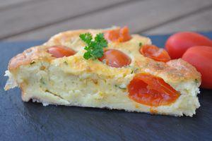 Clafoutis aux tomates cerises sans lactose (spécial allergie) ou avec pour les autres