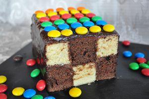 Gâteau damier facile sans moule spécial