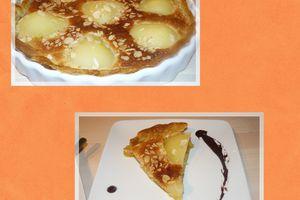 Tarte Poires-Amandes et sa Sauce au Chocolat