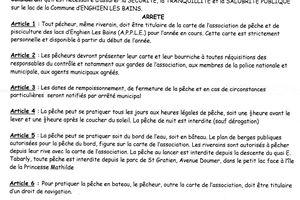 L'ARRETE DU MAIRE 2012-123 SUR LA REGLEMENTATION DE LA PECHE SUR LES LACS ENFIN PUBLIEE.