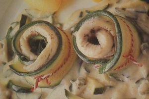 Roulades de sole aux corgette et sauce roquefort