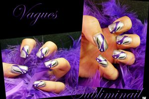 Nail-Art Vagues Paillettés