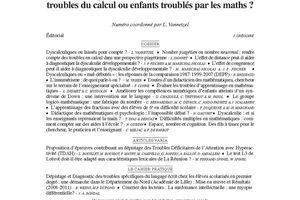 ANAE N° 120-121 - Dyscalculie ou innumérisme : Troubles du calcul ou enfants troublés par le nombre ? - Présentation