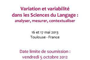 Appel à communications - JéTou - Variation et variabilité dans les Sciences du Langage