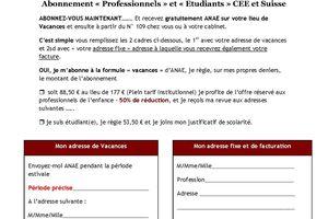 """ANAE - Abonnement """"Spécial Eté 2010"""""""