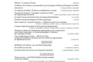 ANAE N° 111 - LA DYSPRAXIE - autisme, clowns, aphasie, R-CMAS