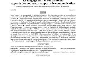 ANAE N° 118 - Le Langage écrit et ses troubles : apports des nouveaux supports de communication