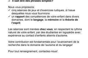 Autisme et syntaxe - Projet de recherche en linguistique et logopédie