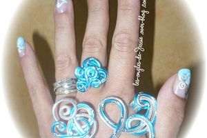 French Turquoise - NailArt Volutes argent et blanche