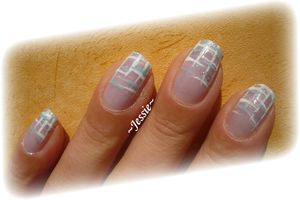 Nail-Art Tricot - blanc et turquoise