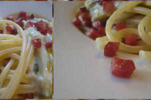 Spaghettoni à la béchamel et aux poireaux