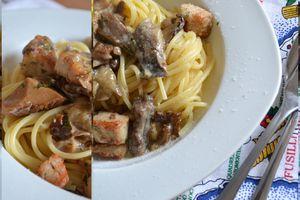 Spaghetti aux dés de poulet et champignons