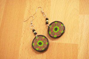 Boucles d'oreilles rondes, vert-rose-noir