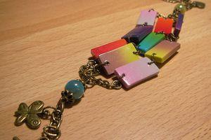 Bracelet triple rang, rectangles dégradés