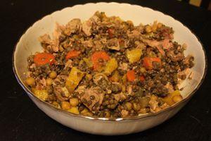 Salade lentilles pois chiche thon orange