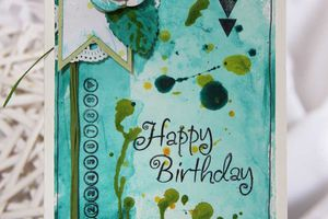"Carte ""Happy Birthday turquoise """