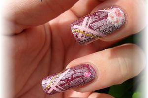 nail art octobre rose - nails papillons