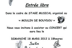 Concert de musique le 18 mars 2012 à 18 heures
