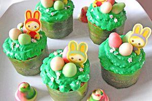 Mes nids de Pâques cupcakes fraises.
