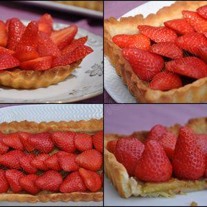 Tarte aux fraises sur compotée de rhubarbe