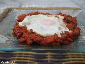 FRICASSEE DE POIVRON-TOMATE A L'OEUF