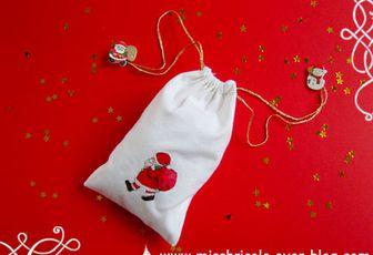 Petit sac de Noël (technique des serviettes sur textile)