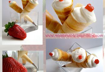 Cornets croustillants fraise chantilly