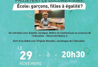 « Ecole : garçons, filles à égalité ? » - 29 novembre