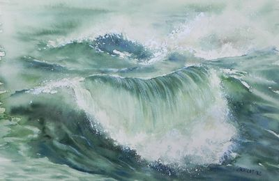 Dessin et peinture - vidéo 2128 : Les vagues et les déferlantes sur des mers agitées - huile ou acrylique.