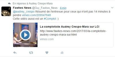 La complotiste Audrey Crespo-Mara sur LCI: grand moment de télévision 24/03/2017 (video media fr)