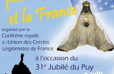 Message de Louis XX à la Confrérie Royale et à l'UCLF à l'occasion du pèlerinage jubilaire au Puy en Velay (4 et 5 juin 2016)