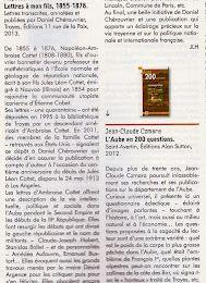 """Notes de lecture - """"Lettres à mon fils"""" dans La vie en Champagne octobre 2013"""